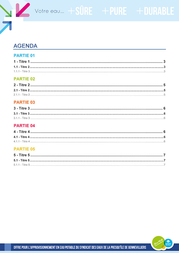 Template de document Word professionnelle - Suez Environnement 1
